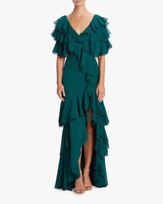 Badgley Mischka Cold Shoulder Ruffle Gown 1