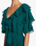 Badgley Mischka Cold Shoulder Ruffle Gown 2