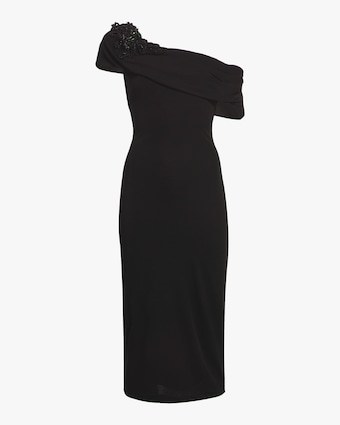 Badgley Mischka Off Shoulder Sheath Gown 1