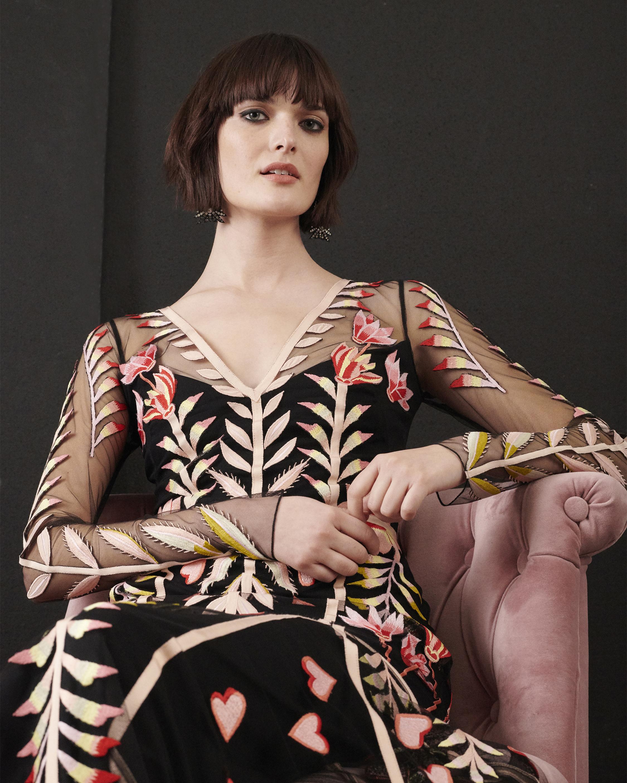 Rosy V-Neck Dress
