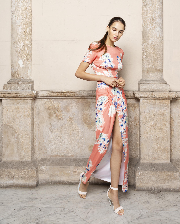 Adriana Iglesias Back Floral Maxi Dress 0