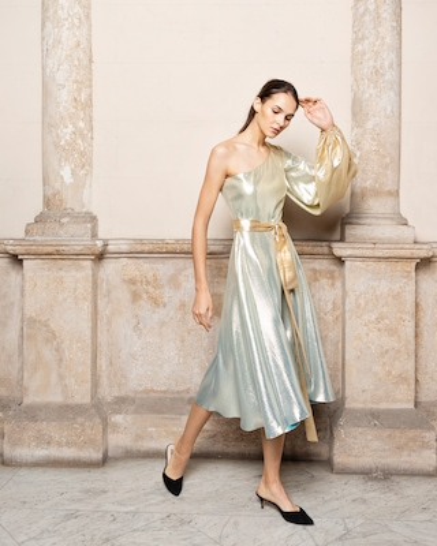 Adriana Iglesias Louise Silk Lame Midi Dress 1
