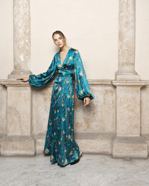 Adriana Iglesias Golden Robe Maxi Dress 0