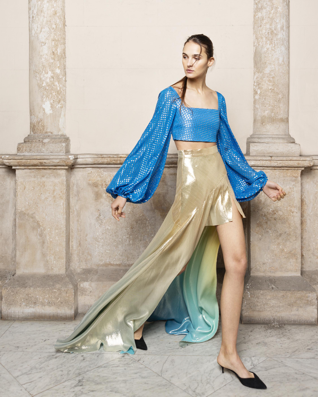 Anta Asymmetrical Silk Lame Skirt