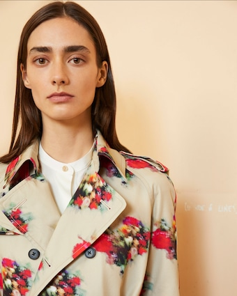 Printed Cotton Twill Trench Coat