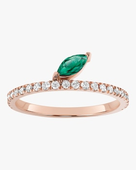 Emerald Marquis Defne Pave Ring