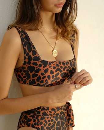 The Susan Leopard Printed Bikini Top