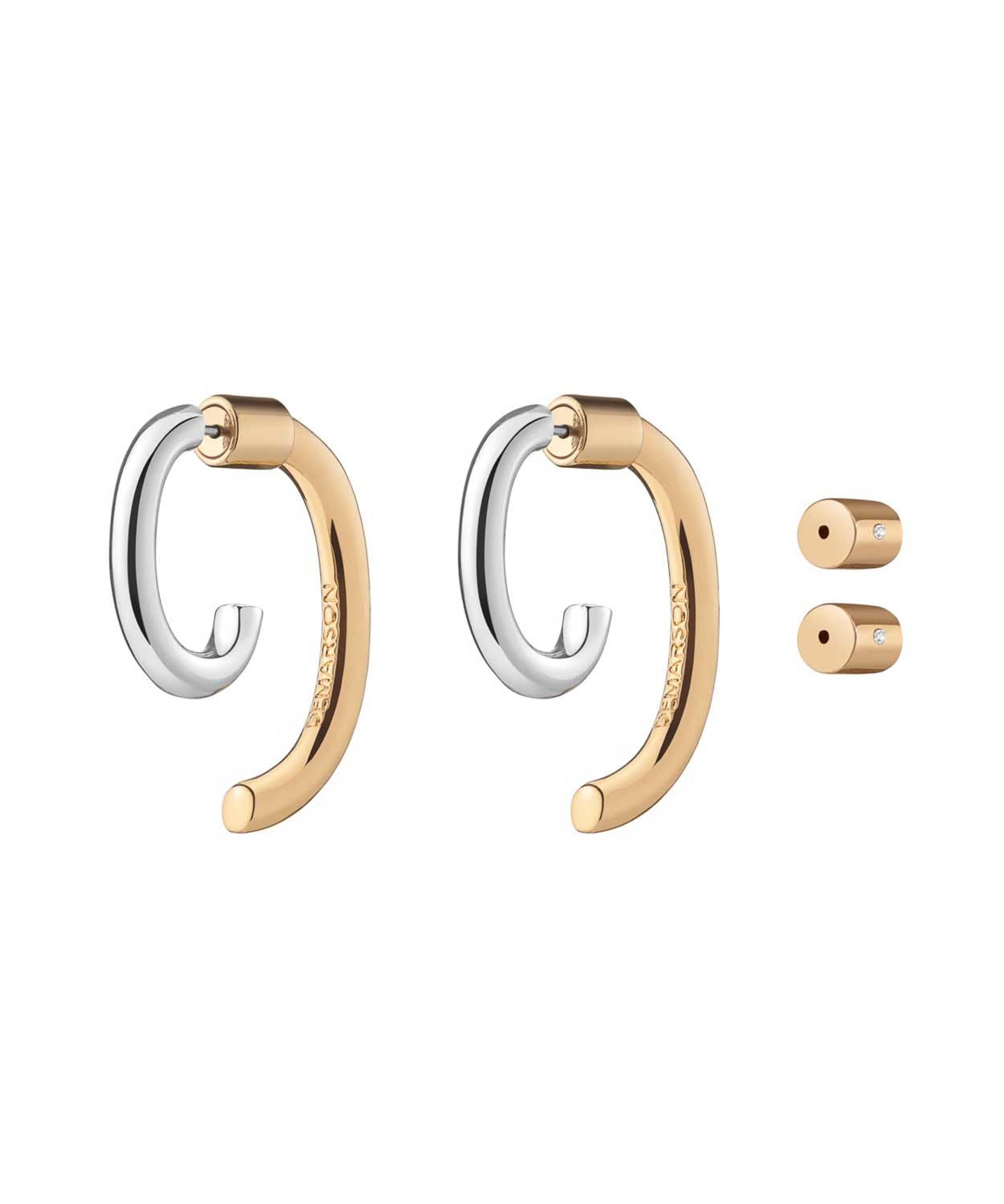 Luna Convertible Two Tone Earrings