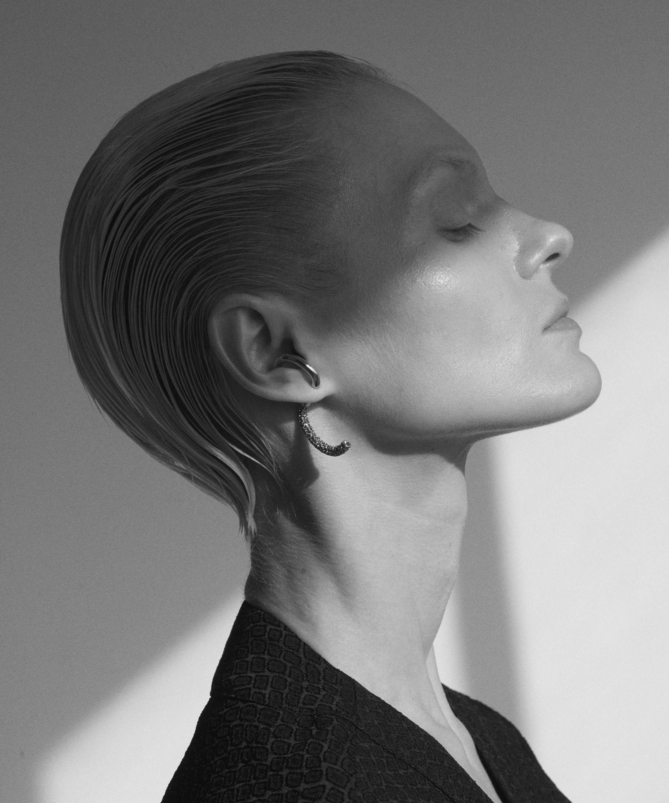 Demarson Pavé Luna Crystal Convertible two tone earrings 2