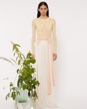 Multi Layered Belted Gown