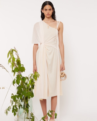 Abstract Draped One Shoulder Dress