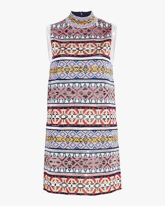 Jacquard And Sequin Paneled Sleeveless Dress