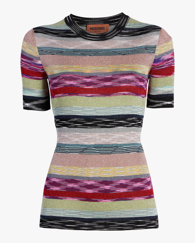 Missoni Rainbow Lurex Striped Knit Tee 1