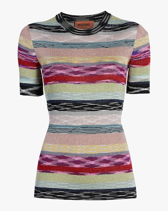 Rainbow Lurex Striped Knit Tee