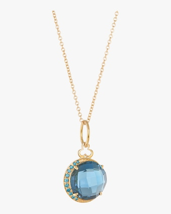 London Blue Topaz Moon Charm Necklace
