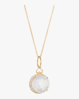 Moonstone Moon Charm Necklace