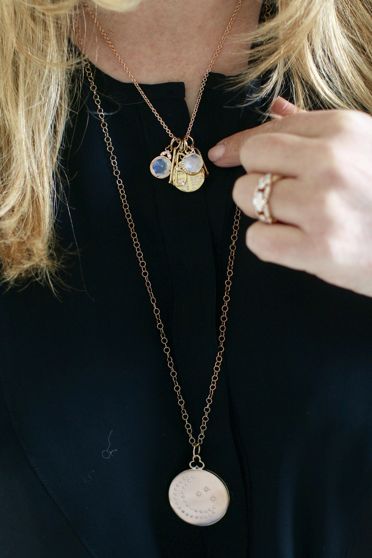 Devon Woodhill Moonstone Moon Charm Necklace 1