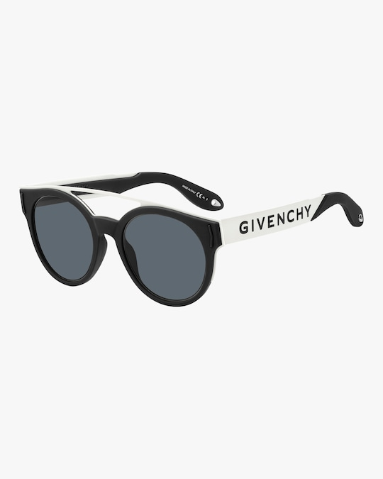 Givenchy Stainless Steel & Rubber Round Logo Sunglasses 1