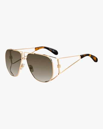 Mirrored Shield Cutout Metal Aviator Sunglasses