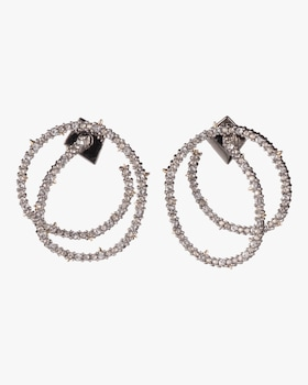 Crystal Encrusted Coil Link Post Earrings