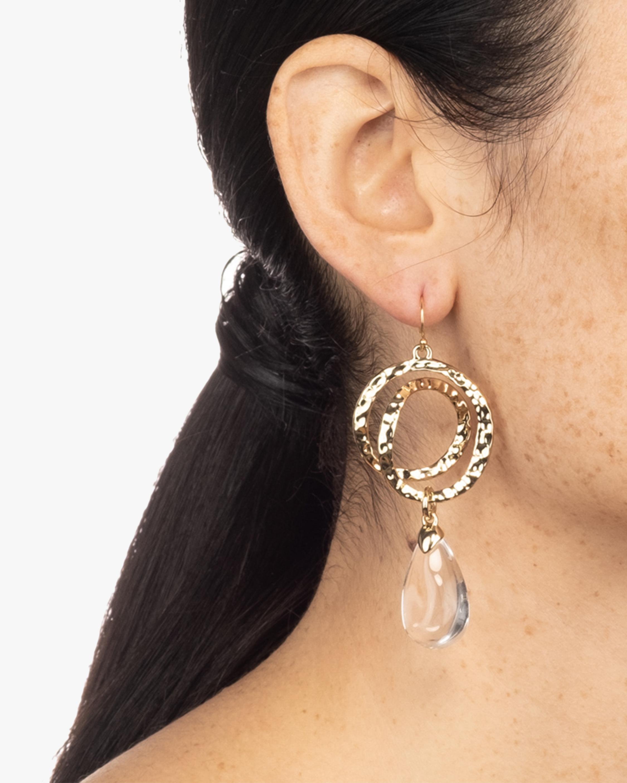 Hammered Coil Link Teardrop Earrings