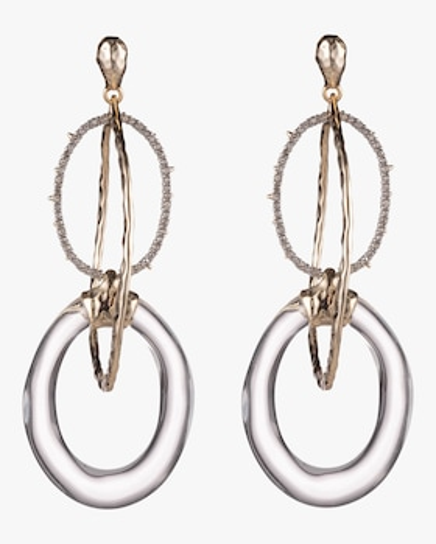 Hammered Metal Orbiting Link Post Earrings