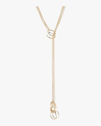 Hammered Coil Link Lariat Necklace