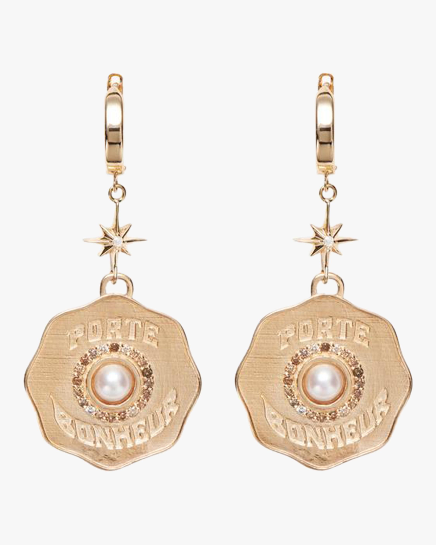 Marlo Laz Porte Bonheur Coin Earrings 1
