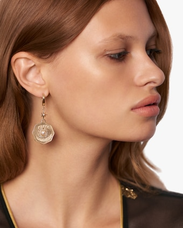 Marlo Laz Porte Bonheur Coin Earrings 2