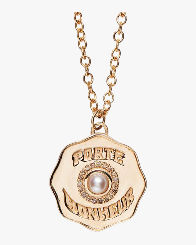 Marlo Laz Porte Bonheur Coin Necklace Long 1