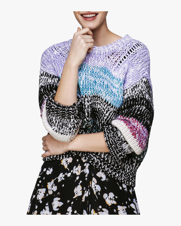 Marble Magic O-Neck Striped Sweater