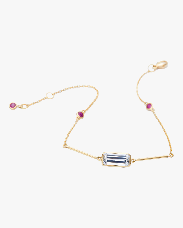 White Topaz And Ruby Bar Bracelet