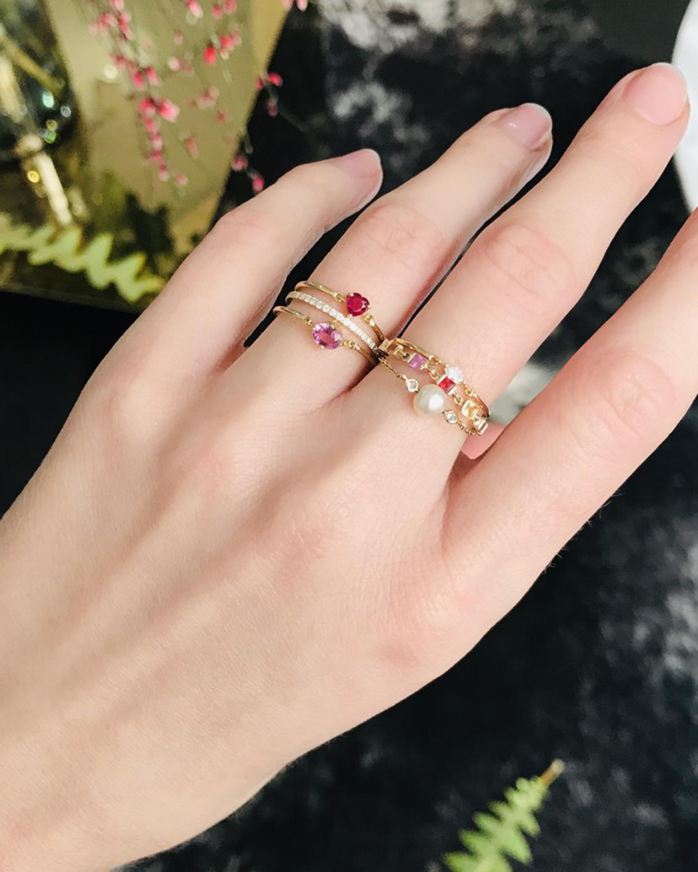 Yi Collection Pearl & Diamond Chain Ring 2
