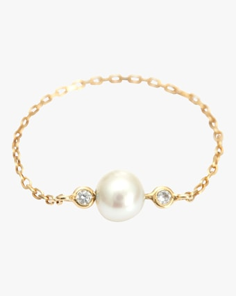 Yi Collection Pearl And Diamond Chain Ring 2