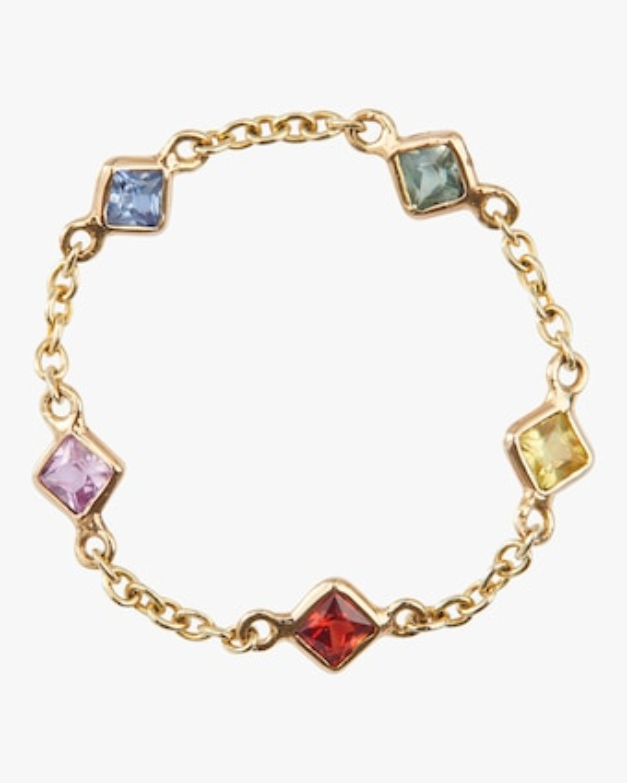 Sapphire Rainbow Chain Ring