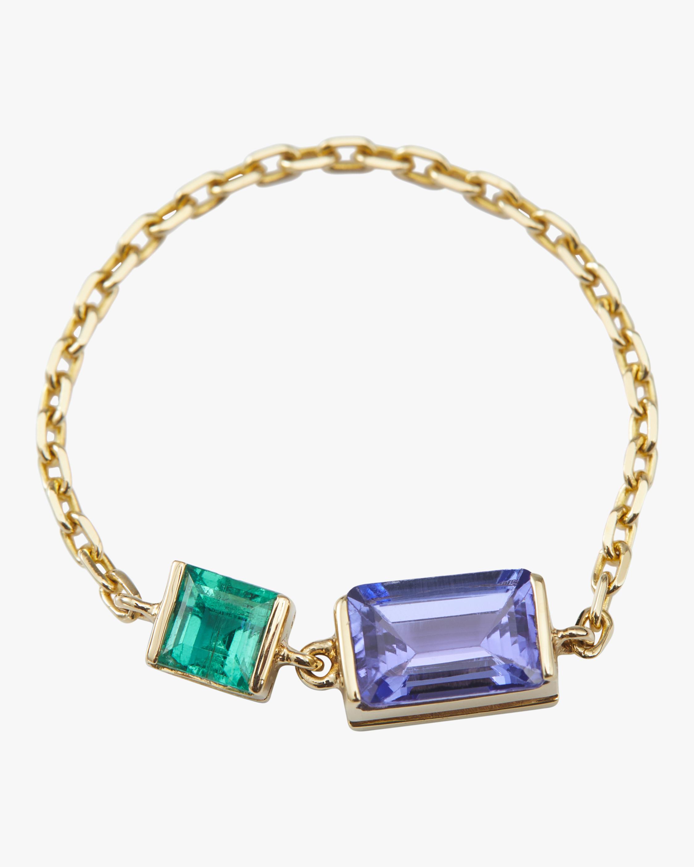Tanzanite And Emerald Chain Ring