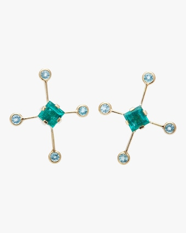Emerald And Apatite Supernova Earrings