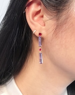 Yi Collection Ruby And Amethyst Cascade Earrings 1