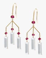 Yi Collection Ruby And Topaz Wind Chime Earrings 0