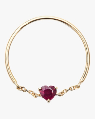 Yi Collection Ruby Heart Half Chain Ring 1