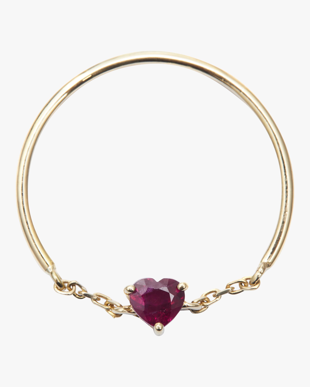 Ruby Heart Half Chain Ring