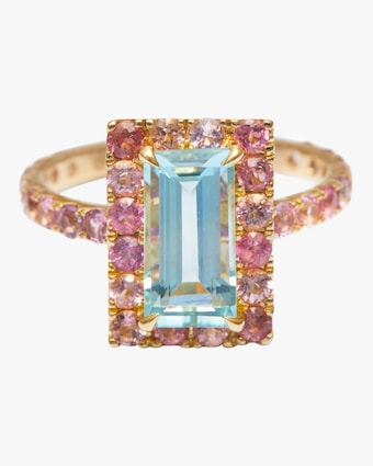 Yi Collection Aquamarine And Pink Tourmaline Candy Ring 2