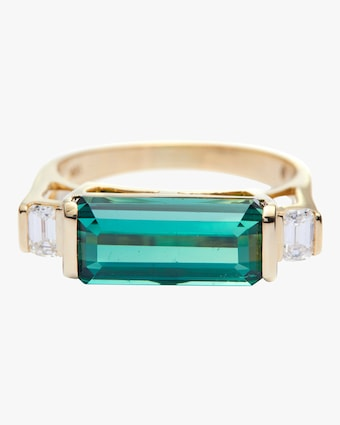 Green Tourmaline And Diamond East West Ring