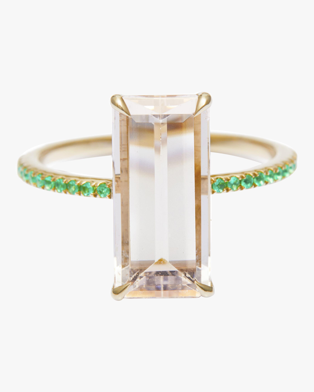 Morganite And Emerald Spring Ring