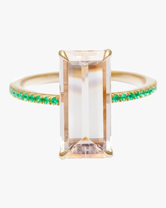 Yi Collection Morganite And Emerald Spring Ring 1