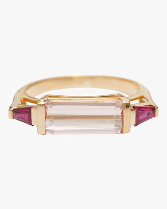 Morganite And Ruby East West Ring