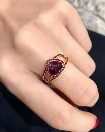 Yi Collection Rhodolite And Ruby Heart Ring 2