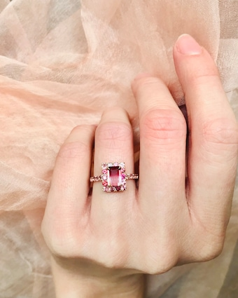 Yi Collection Tourmaline Bubble Gum Deco Ring 2
