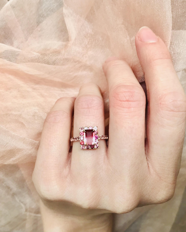 Tourmaline Bubble Gum Deco Ring