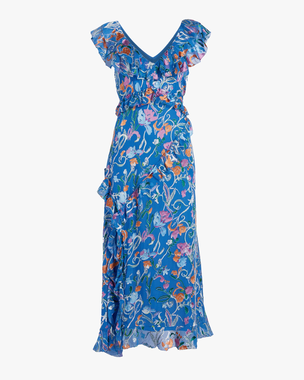 Tanya Taylor Arielle Ruffled Midi Dress 0